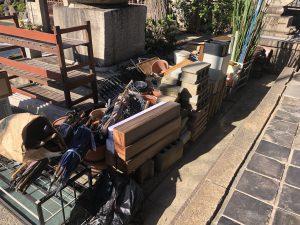 庭の片付け、植木鉢処分、タンス回収、布団回収、ごみ屋敷、引越しゴミ回収、実家片付け、食器棚回収